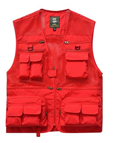 Tamaño Libre Ocio Haoyuxiang Rojo Rápido Secado color Hombres Aire Chaleco Fotografía Pesca Rojo Los Al De L wttx6YqSR