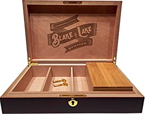 Wood Stash Box with Key Lock - w/ Bamboo Box with Rolling Tray Lid - Dark Brown Discrete Wooden Boxes from Blake & Lake