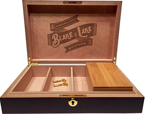 Wood Stash Box with Key Lock - w/ Bamboo Box with Rolling Tray Lid - Dark Brown Discrete Wooden Boxes