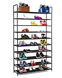 Halter 10 Tier Stackable Shoe Rack Storage Shelves - Stainless Steel Frame Holds 50 Pairs of Shoes - 39.125'' X 11.125'' X 69.5'' - Black