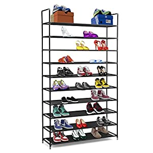 Halter 10 Tier Stainless Steel Shoe Rack / Shoe Storage Stackable Shelves – Holds 50 Pairs Of Shoes – 39.125″ X 11.125″ X 69.5″ – Black