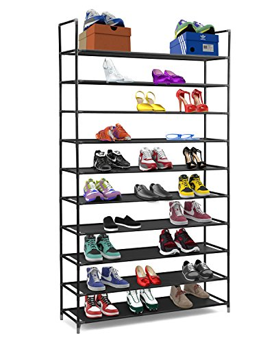 Stackable Shoe Rack - Halter 10 Tier Stackable Shoe Rack Storage Shelves - Stainless Steel Frame Holds 50 Pairs of Shoes - 39.125