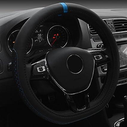 Blu XuanMax Universale D Forma Coprivolante Auto Microfibra Pelle Antiscivolo Veicolo Copri Volante dellautomobile Traspirante Copertura di Volante Car Steering Wheel Cover 38cm