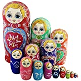 Winterworm Colorful Little Girl Heart Pattern Wooden Handmade Russian Nesting Dolls Matryoshka Dolls Set 15 Pieces For Kids Toy Birthday Christmas Gift Home Decoration Collection