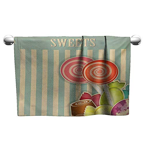 Personalized Hand Towels Vintage,Retro Old Candy Store Chocolates Lollipops with White Stripes on Baby Blue Backdrop,Multicolor,Cooling Towel for Neck