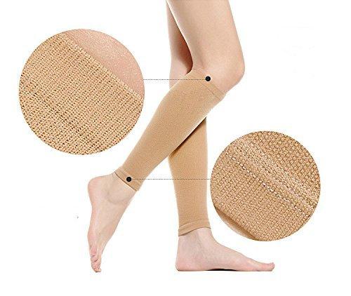 Yosoo Thin Leg Calves Shaper Burn Fat Socks Compression Stovepipe Socks Leg Arm Warmers Calves Sleeves (Skin)