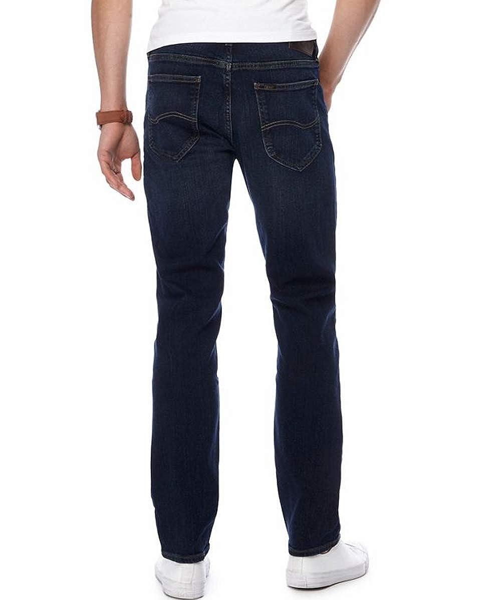 Dark Indigo Blue Mens Lee Jeans Rider Fit Mid Rise Slim Fit Zip Fly Jean