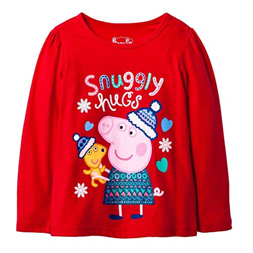 Peppa Pig Snuggly Hugs Tee Tshirt 2T Long Sleeve Red for $<!--$14.99-->