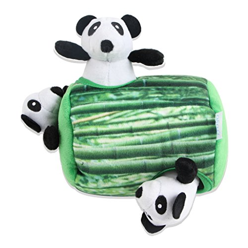 IFOYO Squeaky Dog Toys, Durable Panda Hide and Seek Puzzle Plush Interactive Dog Toys for Medium/Small Dogs, (Bamboo Dog Plush Toy)