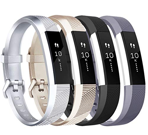 Tobfit 4 Pack Bands Compatible with Fitbit Alta/Alta HR Bands, Soft Sport Silicone Replacement Wristbands for Women Men (Small, Black/Silver/Champagne Gold/Grey)