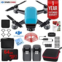 DJI SPARK Fly More Drone Combo (Sky Blue) With Custom Hard Case, 64GB High Speed Card, Corel Paint Version 9, High Visibility Pro Guards, Cleaning Cloth, and One Year Warranty Extension