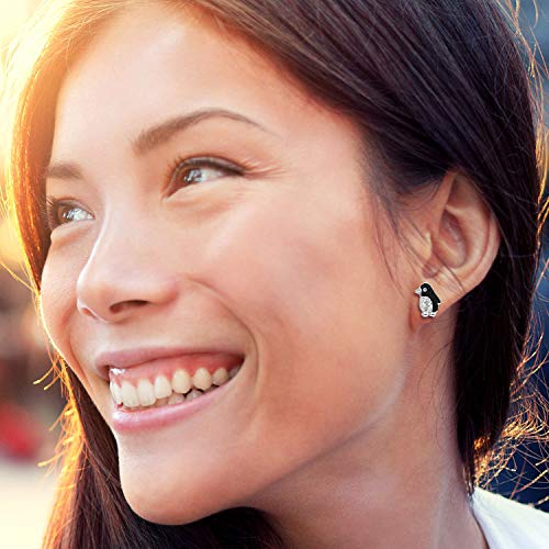 Cute Crystal Penguin Earrings Never Rust 925 Sterling Silver Natural and Hypoallergenic Studs For Women and Girls with Free Breathtaking Gift Box for Special Moments of Love By BLING BIJOUX by BLING BIJOUX (Image #2)