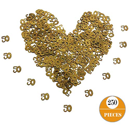 Gold 50th Birthday Glitter Confetti, Seasonsky 250 PCS 50 Number Gold Confetti, Gender Reveal, Anniversary, Birthday Party, Wedding Party Supplies (Gold, 50)