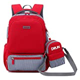 Primary School Backpack Ideal for 1-6 Grade School Students Boys Girls Daily Use and Outdoor Activities (Red2)