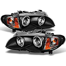 For 2002-2005 BMW E46 3-Series 4 Doors Sedan Black Halo Ring LED Projector Headlights w/Built In Corner Left+Right Side
