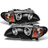 bmw 325xi headlights - BMW E46 3-Series 4 Doors Sedan Black Halo Ring LED Projector Headlights Left + Right Replacement