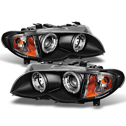 For BMW E46 3-Series 4 Doors Sedan Black Halo Ring LED Projector Headlights Left + Right Replacement