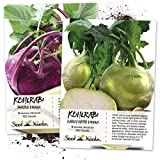 Kohlrabi Seed Packet Duo (Purple Vienna & Early White Vienna) Seeds by Seed Needs