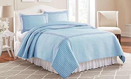 Amrapur Overseas Frame Ruffle Solid Quilt Set, Blue, King, 3-Piece Yes 3MFFRMQG-BLU-KG