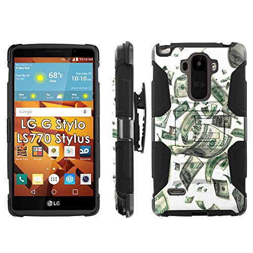 LG G Stylo LS770 H631 Phone Cover, Flying Money- Blitz Hybrid Armor Phone Case for [LG G Stylo LS770 H631] with [Kickstand and Holster] by Mobiflare