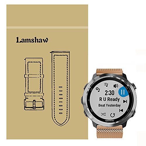 For Garmin Forerunner 645 Band, Lamshaw Quick Release Milanese Metal Stainless Steel Mesh Replacement Strap for Garmin Forerunner 645 GPS Running Watch (Rose Gold) by Lamshaw