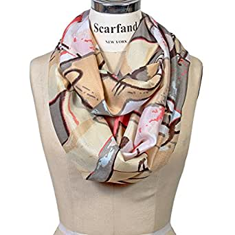 Scarfand Vibrant Painting Artistic Print Infinity Scarf (Abstract Beige-Gray)