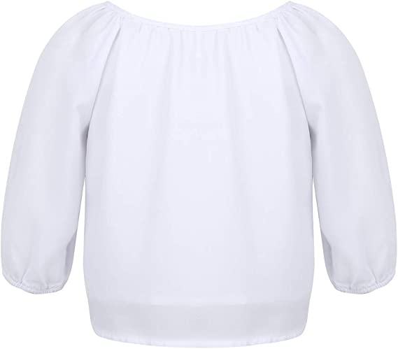 iiniim Blusa con Detalle Anudado para Niña Camisa Blanca Manga Larga Botones Top Gasa Casual Primavera Verano Otoño para Chicas: Amazon.es: Ropa y accesorios