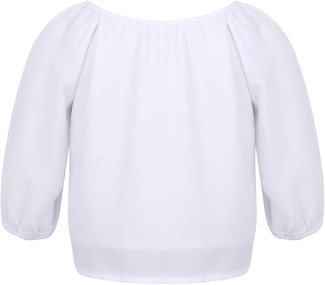 Freebily Blusa Blanca Niña Manga Corta de Gasa Camisa Otoño Manga ...