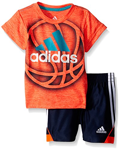 adidas Baby Boys' Tee and Active Short Set, Solar Red Heather, 3 Months