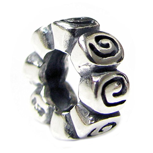 Queenberry Sterling Silver Flower Rose Rondelle European Style Spacer Bead Charm - Trollbeads Rose