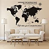 Higoss Large World Map Wall Decal With Compass Travel Quotes Wall Decal Vinyl Sticker for Home Office Wall Decor, Black