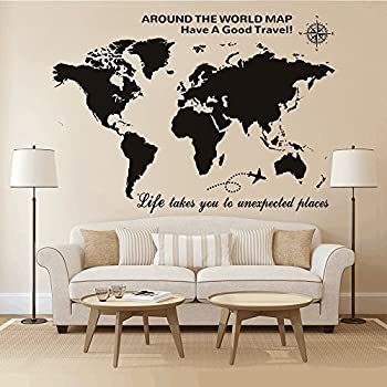 Amazon higoss large world map wall decal with compass travel higoss large world map wall decal with compass travel quotes wall decal vinyl sticker for home gumiabroncs Image collections