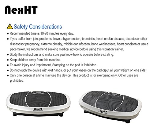 NexHT Dual Motors Fitness Vibration Platform,Whole Body Shape Exercise Machine (89013A),Vibration Plate Fit Massage Workout Trainer with Resistance Bands &Remote, Max User Weight 330lbs,White by NexHT (Image #6)