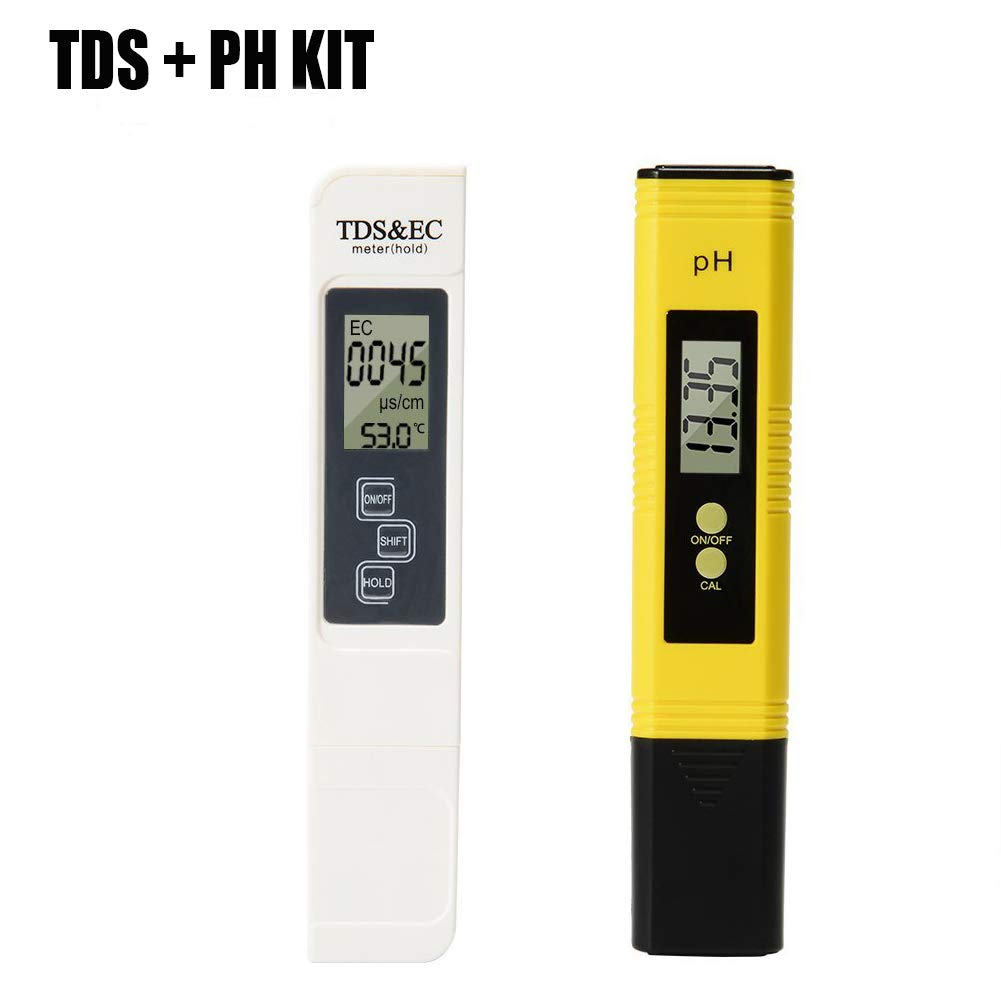 Digital 4 In 1 TDS PH EC Temperature Meter Kit 0-9999us/cm Electrical Conductivity 0.01PH Resolution for Household Drinking Water, Hydroponics, Aquariums, Swimming Pools XSMeterHouse