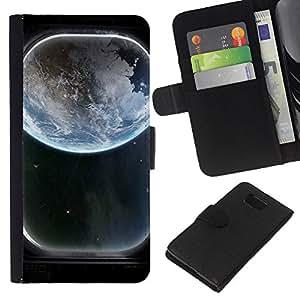 EJOY---La carpeta del tirón la caja de cuero de alta calidad de la PU Caso protector / Samsung ALPHA G850 / --Tierra Ventana Spaceship Ver Art Blue Planet