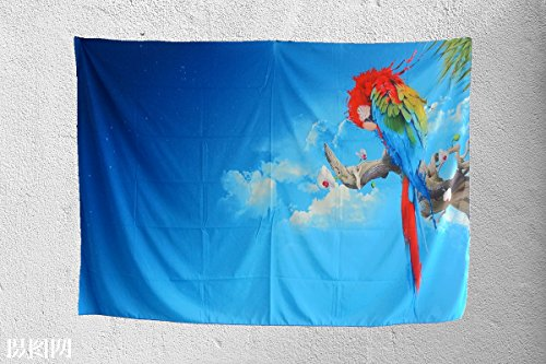 - QNJins Parrot Tapestry Wall Hanging by, Beautiful Parrot perches on the Branch,Blue Starry Sky with Flower,Home Decor Wall Hanging for Dorm Bedroom Living Room,Special Clips Included for Easy Hanging