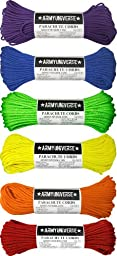 Rainbow Bright Colorful 550LB Nylon Military Paracord Rope Gay Pride Set - 6 Pack