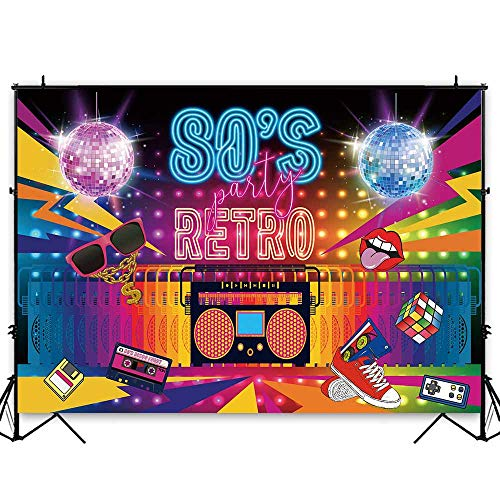 Funnytree 7x5ft Hip Pop 80's Party Backdrop Rock Music Disco Retro 80th Themed Adult Birthday Photography Background Back to 80s Cake Table Banner Decoration Photo Booth Props]()