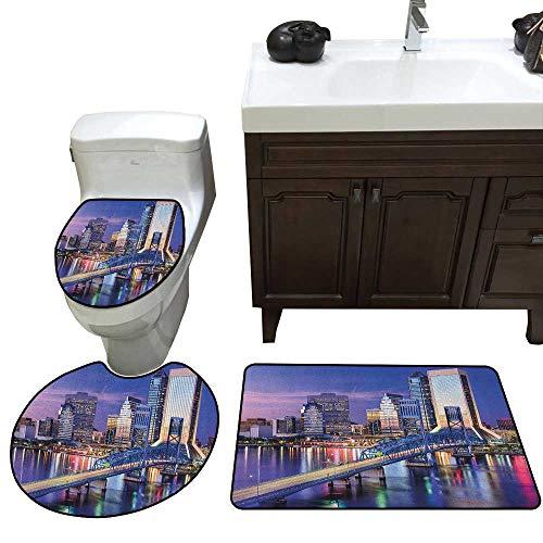 United States 3 Pc Bath Rug Set Urban Cityscape Bridge Office Buildings Jacksonville Florida Toilet Floor mat Set Violet Blue Pale Pink Tan