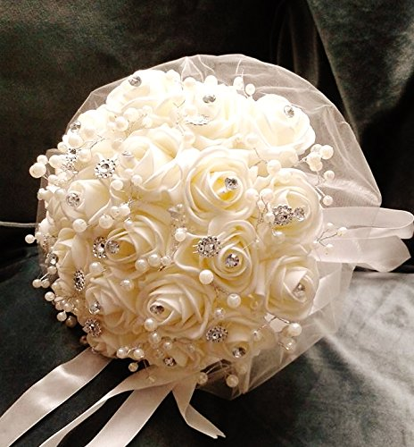 Artificial Wedding Bouquets.Foam Rose Bud Diamante And Pearl Bridal Bouquet Artificial Wedding Flowers White