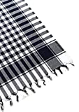 fdm Tablecloth Linen 100% Cotton Checkered Gingham Buffalo Picnic Blanket (62×62 inches, Black)