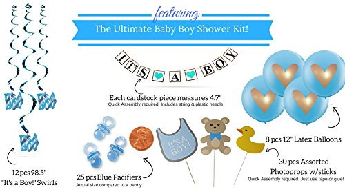 Baby Shower Decorations For Boy Blue It's a Boy! Giant Balloons Photo booth  Props Banner Pom Poms Mom Mommy to Be Sash White Gold Pacifiers Garland