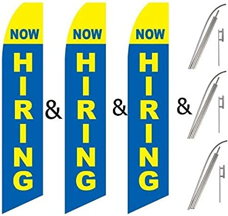 Twin Pack Swooper Flags /& Pole Kits Now Hiring Yellow Light Blue