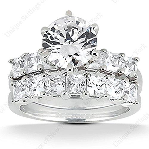 2.75 Ct Diamond Engagement Ring Bridal Set Princess Prong 14k White Gold