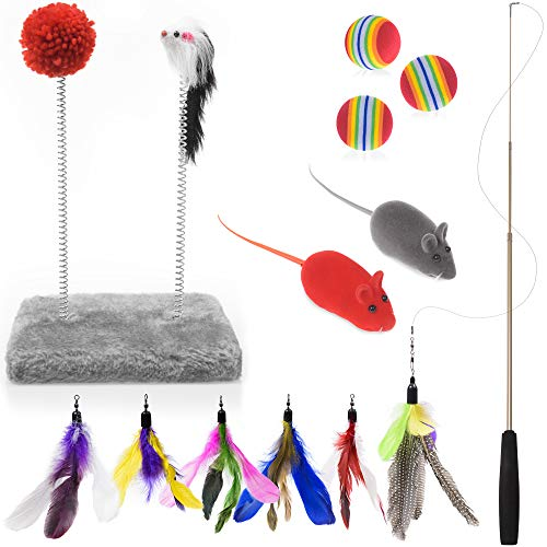 AEXYA - Restless Cat Toys Set - Pet Supplies | Interactive Pad, Retractable Wand Teaser with Feathers, Foam Balls, 2 Soft Mice + eBooks on Caring for Your Feline Pet