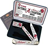 Case Cutlery AL15-CAPWP 2015 Alabama Football National Championship Case White Pearl Slant Bolster Corelon Trapper Gift Set