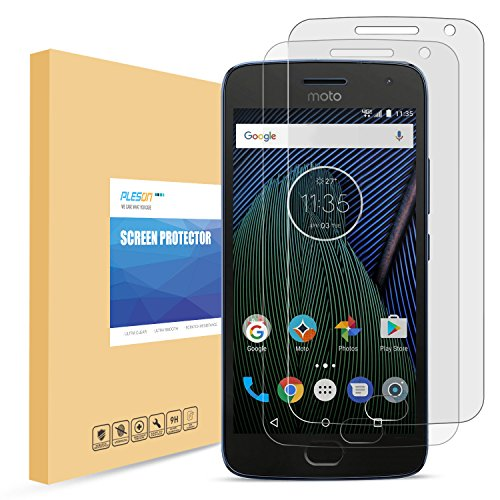 Price comparison product image Moto G5 Plus Screen Protector, PLESON [2-Pack] Moto G5 Plus Tempered Glass Screen Protector, [Easy-install Sticker] 2.5D/0.26mm/9H/Bubble Free,Glass Screen Protector for Moto G plus 5th Generation