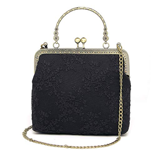 Rejolly Women Vintage Kiss Lock Evening Bag Lace Purse Shoulder Handbag Top Handle Bag Black