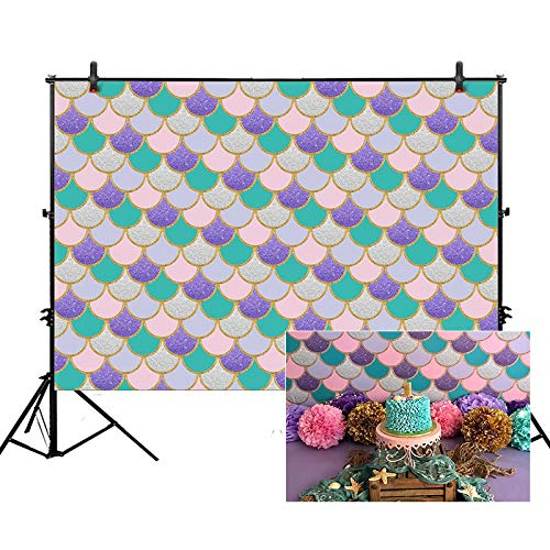 Allenjoy 5x3ft Little Mermaid Scales Backdrop Under The Sea Princess Background Glare Glitter Shell for Girl Birthday Party Decor Photo Studio Photography Booth Background Newborn Baby Shower Booth -