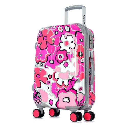 Olympia Blossom II 21-Inch Polycarbonate Carry-On Spinner with TSA Lock, Fuchsia, One Size (Olympia 21 Inch Spinner Carry On Suitcase)